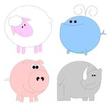 Set of funny animals 2. Set of funny animals - sheep, whale, pig, rhino Royalty Free Stock Images