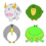Set of funny animals. Bull, duck, penguin, frog Royalty Free Stock Photos