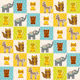 Set of funny animals bear cat raccoon zebra tiger elephant seamless pattern. Polka dot background with green blue orange square. V Royalty Free Stock Photos