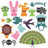 Set of funny animals Stock Image