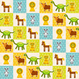 Set of funny animals Mouse lion cow dinosaur tiger horse seamless pattern. Polka dot background with green blue orange square. Vec Royalty Free Stock Image