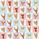 Set of funny animals muzzle cow horse wolf fox deer kangaroo seamless pattern with pink lilac blue square. Vector Royalty Free Stock Photo
