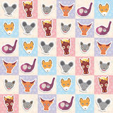 Set of funny animals muzzle horse bat cow elephant fox rat seamless pattern with pink lilac blue square. Vector Stock Photography