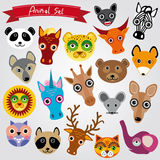Set of funny animals muzzle.  Royalty Free Stock Photo