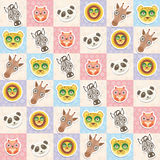 Set of funny animals muzzle owl panda giraffe lion zebra leopard seamless pattern with pink lilac blue square. Vector Stock Image