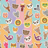 Set of funny animals muzzle seamless pattern. background with Polka dot. Vector Stock Image