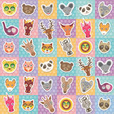 Set of funny animals muzzle seamless pattern with pink lilac blue orange square. Vector Royalty Free Stock Photos
