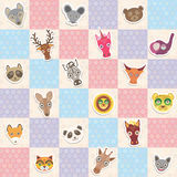 Set of funny animals muzzle seamless pattern with pink lilac blue square. Vector Royalty Free Stock Images