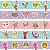 Set of funny animals muzzle seamless pattern with pink lilac blue stripes. Vector Royalty Free Stock Photo