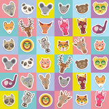 Set of funny animals muzzle seamless pattern with pink lilac blue yellow square. Vector Stock Photo
