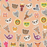 Set of funny animals muzzle seamless pattern. pink peach background. Vector Stock Images