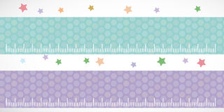 Set of funny animals muzzle seamless pattern with stars, pink lilac blue stripes. Vector Stock Images