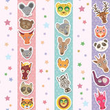 Set of funny animals muzzle seamless pattern with stars, pink lilac blue stripes. Vector Royalty Free Stock Images
