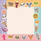 Set of funny animals muzzle square frame template card. background with Polka dot. Vector Royalty Free Stock Image