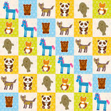 Set of funny animals panda bear wolf fox fur seal unicorn seamless pattern Royalty Free Stock Photos