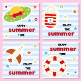Set of funny backgrounds with summer theme. Set of funny backgrounds with summer vacation theme. Lifebuoy, hat, seagull bag on striped background. Vector Royalty Free Stock Image
