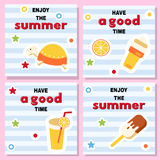 Set of funny backgrounds for summer. Time with bright icons and good wishes.Turtle, cocktail, ice cream on striped background and inscriptions Stock Photography
