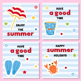 Set of funny backgrounds for summer time. Royalty Free Stock Photography