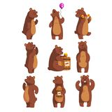 Set with funny bear. Forest animal waving by paw, holding balloon, dancing, howling, calling someone, eating honey from Stock Photo