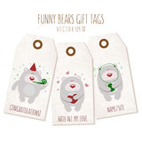 Set of funny bears gift tags on textured background. Vector eps Royalty Free Stock Image