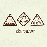 Set of funny bicycle road signs Stock Photo