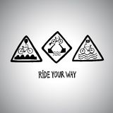 Set of funny bicycle road signs Stock Photos