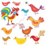 Set of funny birds Royalty Free Stock Image