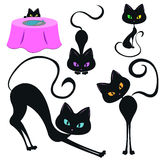 Set of funny black cats. Vector illustration of 5 funny black cats Stock Photography