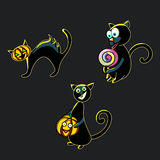 A set of funny black cats to celebrate Halloween Royalty Free Stock Photos