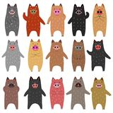 Set of funny boars. Set of standing funny boars, for Asian new year designs royalty free illustration