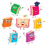 Set of funny book characters, mascots, cartoon vector illustration Royalty Free Stock Image