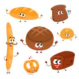 Set of funny bread, bakery characters with human faces. Cartoon vector illustration isolated on a white background. Smiling white, rye and whole wheat bread vector illustration