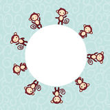 Set of funny brown monkey boys and girls on blue Royalty Free Stock Photography