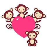 Set of funny brown monkey boys and girls Card Royalty Free Stock Image