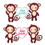 Set of funny brown monkey boys and girls. monkey Royalty Free Stock Photography