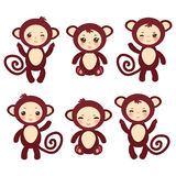 Set of funny brown monkey boys and girls on white background. Vector. Illustration Stock Images