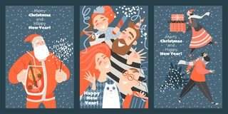 Set of funny cards for Christmas and New Year. stock illustration