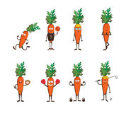 Set of funny carrots doing sport . cartoon vector illustration isolated on white background. Cute and focused characters Stock Photography