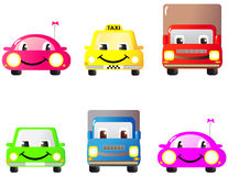 Set of funny cars. A set of colorful fun and cute cars and toys. Cartoon Royalty Free Stock Image