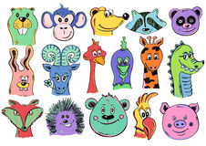 Set Of Funny Cartoon Animal Face Icons. Stock Images