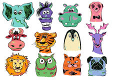 Set Of Funny Cartoon Animal Face Icons. Set of  funny cartoon smiling animal face icons. Creative avatars. Colorful animal face characters Stock Photography