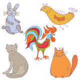 Set of funny cartoon animals Stock Image