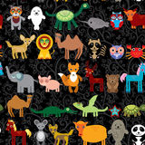 Set of funny cartoon animals character on  black seamless background Stock Images