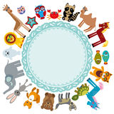 Set of funny cartoon animals character on a white background walking around globe. frame for your text. zoo.  Stock Photography