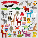 Set of funny cartoon animals character on a white background. zoo.  Stock Photos