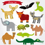 Set of funny cartoon animals character on  white background. zoo Stock Image