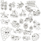 Set of funny cartoon berries. Page to be colored. Royalty Free Stock Image