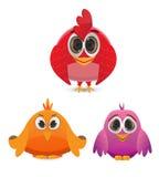 Set of funny cartoon bird Stock Photography