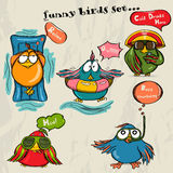 Set of 5 funny cartoon birds. Stock Photos