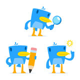 Set of funny cartoon blue bird Stock Images